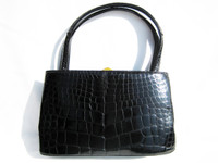 Petite 1950's-60's Jet Black RENDL Alligator Skin Handbag