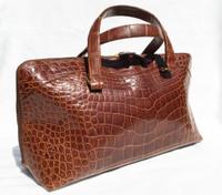 MAXIMA Cognac Alligator Belly Skin Handbag BOLIDE Style - Titti Del'Aqua - ITALY