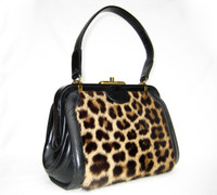 1950's-60's GENUINE Exotic Spotted FUR & Leather Handbag
