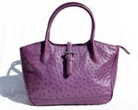 Stunning PLUM Purple 1980's-1990's OSTRICH Skin Handbag