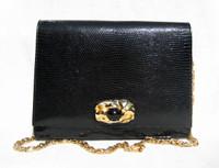 Jet Black 1950's-60's MARTIN VAN SCHAAK Lizard Skin CLUTCH Shoulder Bag