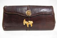 Custom BOHO 1960's Brown Lizard Skin CLUTCH - Carved Stone DONKEY!