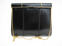 BLACK 1970's-80's  COBRA Snake Skin Shoulder Bag