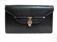 1970's-80's Gucci Style BLACK Lizard Skin CLUTCH Shoulder Bag by ARTBAG
