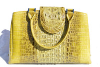 Stunning LIME GREEN Hornback CROCODILE Skin Handbag SATCHEL