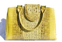 Stunning LIME GREEN Hornback CROCODILE Skin Handbag SATCHEL