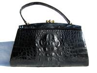XL Jet BLACK 1960's HORNBACK Crocodile Skin Handbag