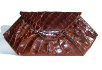 "XXL 17"" 1940's-50's DECO Alligator Belly Skin Clutch Bag - ARGENTINA"