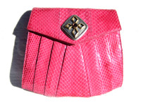 Jeweled PINK 1980's-90's COBRA Snake Skin Clutch Shoulder Bag