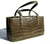 Gorgeous XL ARMY GREEN Early 2000's ALLIGATOR Belly Skin Handbag