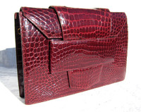 Sleek Hermes-Style 1990's BURGUNDY RED CROCODILE Skin Clutch SHOULDER Bag - PARIS