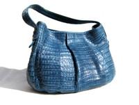 1990's-2000's DENIM BLUE Crocodile Skin Satchel Shoulder Bag - FALCHI