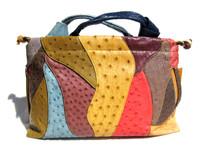 Stunning XL 15 x 9 Early 2000's COLOR BLOCK Ostrich Skin Handbag Shoulder Bag