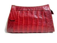 Gorgeous RED 1950's DEITSCH ALLIGATOR Belly Skin Clutch Bag