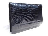 XL NAVY BLUE 1990's-2000's Glossy ALLIGATOR Belly Skin Shoulder Bag CLUTCH