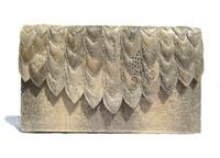 Gorgeous 1980's SCALLOPED Monitor RING Lizard CLUTCH Shoulder Bag - SALDANA