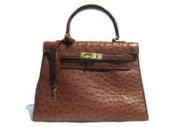 Lovely WHISKEY Early 2000's BIRKIN Style OSTRICH Skin Handbag - MAURO GOVERNA