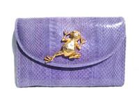 Lilac PURPLE 1990's COBRA Snake Skin CLUTCH Shoulder Bag w/FROG - SAKS