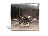Rose GOLD 1980's Jeweled COBRA Snake Skin CLUTCH Shoulder Bag  - JASMIN