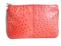 New! Candy Apple Red OSTRICH Skin Make Up Bag Clutch - Titti Dell' Acqua