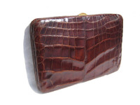 XL 1950's-60's CHOCOLATE Brown Hard-Sided ALLIGATOR Skin Case