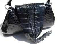 Dramatic & Soft 1990's-2000's Black HORNBACK Alligator TAIL Skin Shoulder Bag