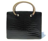 RARE JET BLACK 1950's-60's MARTIN VAN SCHAAK Crocodile Porosus Skin Handbag - Metal Handles!
