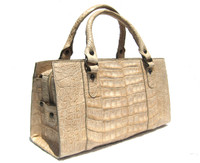 CREAM Buff 1990's-2000's CROCODILE Belly Skin Handbag