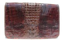 Stunning Unisex 1960's-70's Hornback Crocodile Skin Shoulder Document Bag Clutch