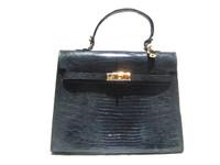 Classic XL 1990's Slate BLUE Birkin Style LIZARD Skin Handbag