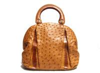 XL BRITISH TAN Early 2000's Ostrich Leg Skin Handbag Bowler Shoulder Bag