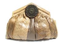 Two-Tone Tan Embellished 1980's COBRA Snake Skin CLUTCH Bag - Vasilis Trotting