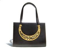 Dark Brown MARTIN VAN SCHAAK 1960's-70's Lizard Skin Handbag - ANIMALS!