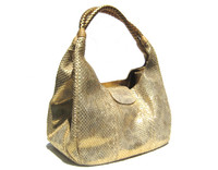 Early 2000's Stunning XL Metallic GOLD PYTHON Snake Skin Shoulder Bag - CARLOS FALCHI