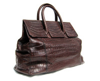 Early 2000's XL 20 x 11 ESPRESSO Brown Crocodile Belly Skin Handbag Travel Bag SATCHEL - LAI