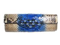 Stunning Jeweled BLUE & TAN Python Snake Skin Clutch Shoulder Bag - Falchi