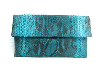 Early 2000's Bright TURQUOISE Matte PYTHON Snake Skin Fold Over CLUTCH Bag