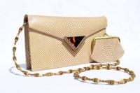 TAN 1960's-70's KARUNG Snake Skin CLUTCH Shoulder Bag - La Jeunesse