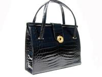 RARE JET BLACK 1950's-60's MARTIN VAN SCHAAK Crocodile Skin Handbag