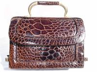 Petite Chocolate 1950's-1960's REPTILE SKin Handbag - BUCKLES!