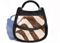 1960's ZEBRA Fur & Suede Handbag by Leland
