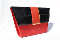 Unique RED, YELLOW & BLACK 1970's-80's FROG, SNAKE SKIN & Straw Clutch Cross Body Shoulder Bag