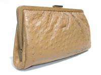 POINTER Tan 1950's-60's Ostrich Skin Clutch Purse