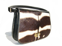 1950's-60's GENUINE ZEBRA HIDE FUR Shoulder Bag Purse