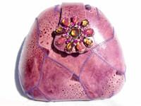 Jeweled PURPLE 1970's GENUINE FROG SKIN Clutch Shoulder Bag