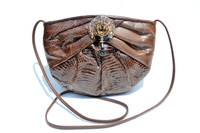Custom Brown 1980's Embellished COBRA Snake Skin CLUTCH Shoulder Crossbody Bag