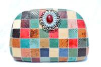 Custom 1980's Hard-Sided Patchwork COBRA Snake Skin CLUTCH Shoulder Bag with XL Front Embellishment