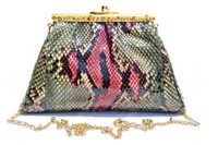 Gorgeous 1980's GREEN & PINK Python Snake Skin Crossbody Shoulder Bag