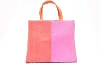COLOR BLOCK Orange & Pink 1970's-80's PYTHON Snake Skin Tote Handbag Shoulder Bag - ANDREA PFISTER