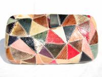 COLORFUL 1980's Hard-Sided Patchwork COBRA Snake Skin CLUTCH